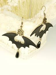 <b>Halloween PU Bat Drop</b> Earrings - Black