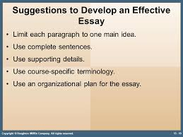 developing strategies for recall math and essay tests ppt  suggestions to develop an effective essay