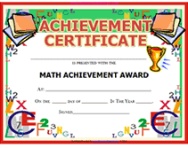 certificates of completion for kids free printable math achievement awards certificates templates