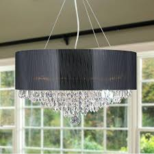 black acrylic chandelier 8 light chrome finish and clear crystal chandelier with black acrylic drum shade