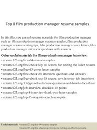 top8filmproductionmanagerresumesamples 150514055247 lva1 app6891 thumbnail 4 jpg cb 1431582823