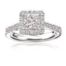 stephanie princess cut pav diamond halo engagement ring 14k