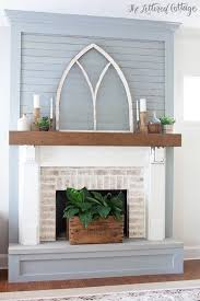 vintage window frame tops eclectic fireplace