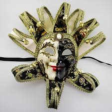 Decorative Masquerade Masks Luxury Full Face Venetian Joker Masquerade Mask Bells Cosplay 34
