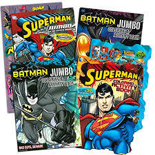 1998 superman super jumbo coloring & activity book. Justice League Batman And Superman Coloring Book Super Set With Stickers 4 Coloring Books Over 250 Pages Total Walmart Canada