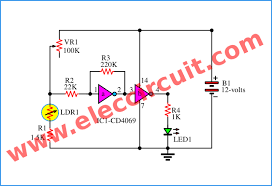 automatic led night light switch electronic projects circuits 3 simple night light sensor circuit using cd4069