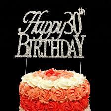 Monogram Crystal Rhinestone Happy Birthday 30th Anniversary Cake