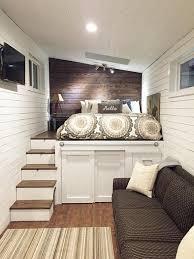 a platform bed with storage below