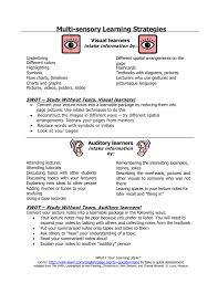 Visual Learning Strategies Multi Sensory Learning Strategies Visual Learners