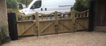 derbyshire bi folding wooden driveway gates