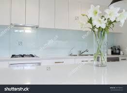 Splashback White Kitchen Flowers On White Kitchen Bench Splashback Stock Photo 167790515