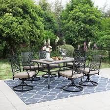 7 piece steel outdoor patio dining set