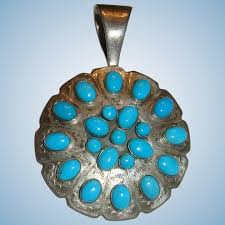 jay king large turquoise and stamped sterling slide pendant desert the loft antiques ruby lane