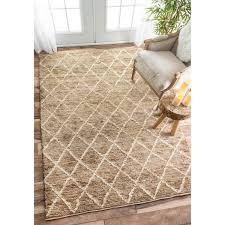 nuloom hand knotted natural fiber braided trellis jute natural rug 8 x 10