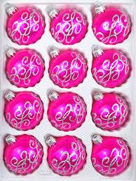 12 Tlg Glas Weihnachtskugeln Set In Hochglanz Pink Silberne Ornamente