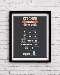 Kitchen Conversion Chart Decor Amazon Com Print Kitchen Decor Kitchen Conversion Chart