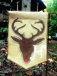 monogram se flags burlap garden flag with deer stag and by winter fall large outdoor house burlap house flags
