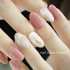 春ワンカラータイダイ大理石 Nail Salon Embellirのネイルデザイン