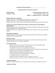 early experience 2 lesson plan quadratic equation 15092