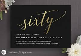 60 birthday invitations 60th birthday invitations formal faux gold 60th birthday