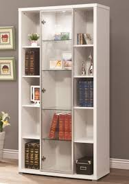 decorating antique white bookcase with glass doors