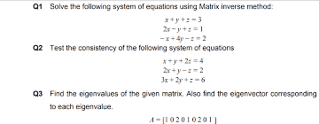 solved q1 solve the following system