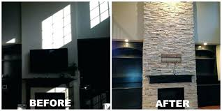 replace brick fireplace before and after refacing