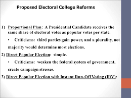 elections and the electoral college ppt proposed electoral college reforms