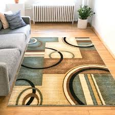 generations modern geometric circles light blue beige ivory and brown area rug chocolate rugs for living room