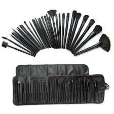 exquisite women lady pink black 32 pcs make up tools professional cosmetic makeup brush set kit fashion cute bag