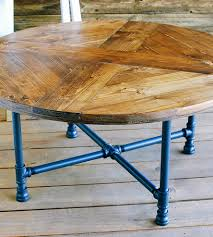... Reclaimed-wood-round-coffee-table-with-pipe-legs-