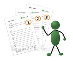 blank table quiz answer sheets with round numbers