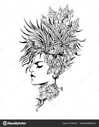 Belle Femme Visage Coiffure Dessin Vectoriel Image