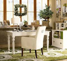 decoration: Classic Details For Elegant Home Office With White Desk And  Cozy Armchair On Green