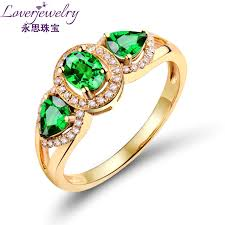 natural green stone jewelry three stones 14kt yellow gold natural ring enement rings factory s wu144