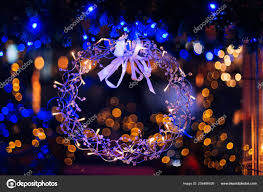 Wreath With Blue Lights Close Christmas Wreath Made Metal Wires Transparent Beads