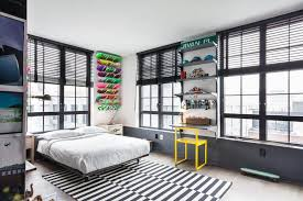 remarkable chic apartment in unique design teenagers bedroom design black and white carpet skateboard showcase