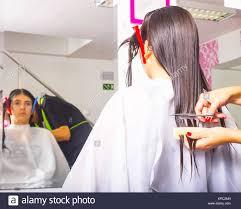 Femme Avec De Longs Cheveux Noirs Lui Coupe Les Cheveux