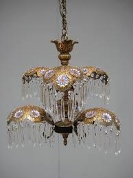 brass gold filigree palm tree crystals chandelier