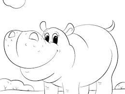 Hippo Coloring Page Cartoon Pages Cute Free Printable Truyendichinfo