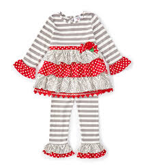 Counting Daisies Little Girls 2t 6x Mixed Media Fit And Flare Dress Striped Leggings Set Dillards