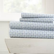 blue patterned sheets. Interesting Blue Becky Cameron 4Piece Hounds Tooth Patterned Light Blue Queen Performance  Bed Sheet Set For Sheets D
