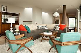 living room: Tantalizing Retro Home Decor For Living Area Using Twin Arm  Chair Also Sectional
