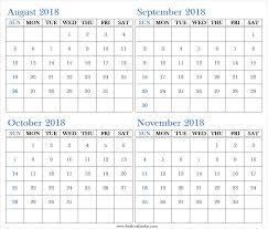 November Through November Calendars Four Monthly August September October November 2018 Calendar Free