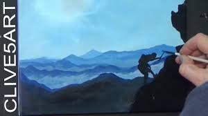 easy acrylic misty mountains painting tutorial you