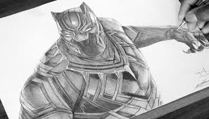 black and white art sketches black panther pen drawing captain america civil war demoose art of