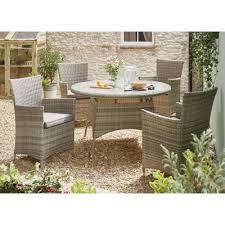 outdoor table and chairs. Madrid Five Piece Dining Set - Grey Outdoor Table And Chairs