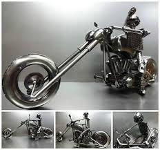 rare motorcycle custom bike chopper handmade scrap gun metal model