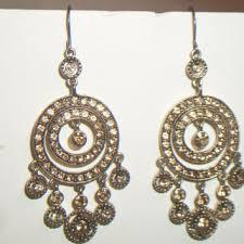 monet champagne crystal chandelier earrings gypsy boho chic costume jewelry