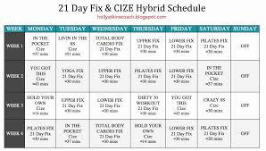 21 day fix calendar holly atkins 21 day fix and cize hybrid schedule